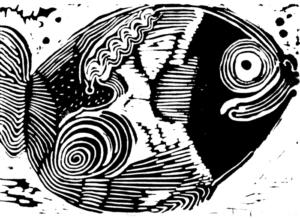 Fisch, heiter | Linolschnitt